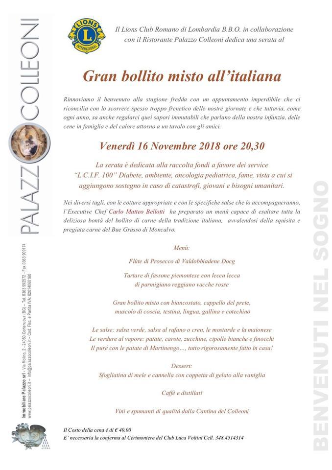 """Amicizia, Solidarietà  e Arte Gastronomica alla Serata """"Gran Bollito Misto all'Italiana"""""""
